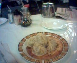 Lamb dumplings on naan at a xinjiang restaurant in chinatown.