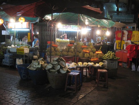 durian stand in chinatown