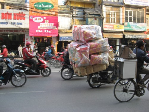 packed motorbike on ton duc thang