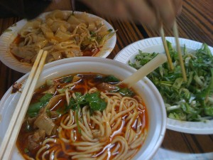 liangpi, tiger salad, and beef noodle soup