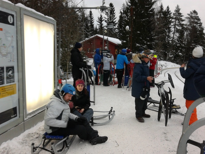 Fellow sledders waiting for the subway at Midtstuen